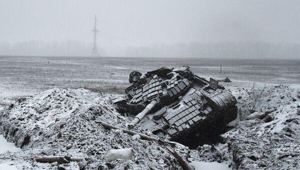 Подбитый танк украинской армии возле Углегорска