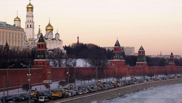Вид на Московский Кремль зимой. Архивное фото
