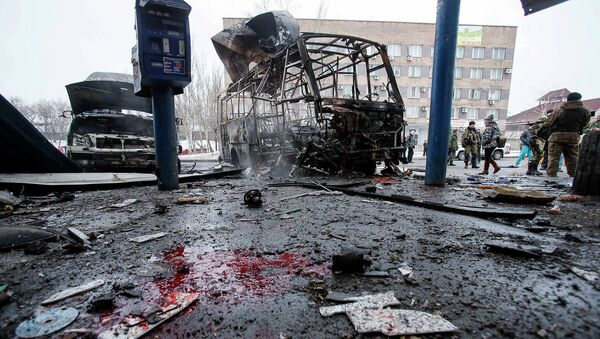 Подвергшаяся обстрелу автобусная станции в Донецке