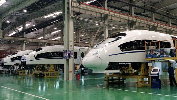 Постройка высокоскоростных поездов в Китае. Архивное фото