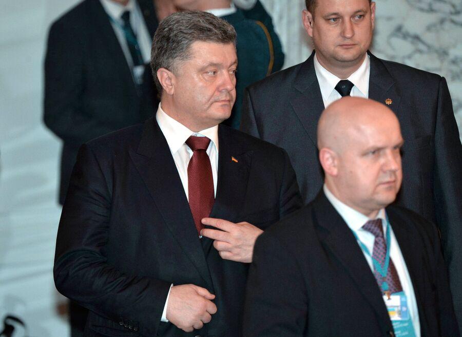 Президент Украины Петр Порошенко во Дворце независимости в Минске