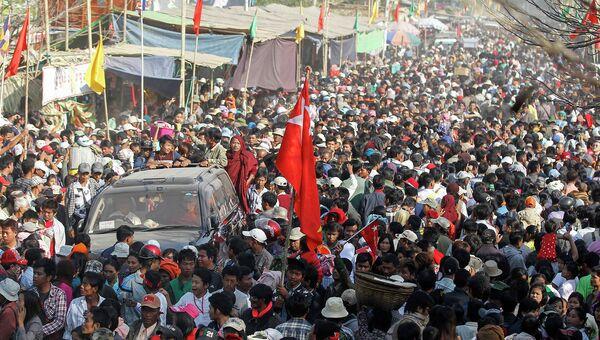 Митинг посвященный столетию генерала Аун Сана Натмау в Мьянме