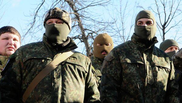 Бойцы батальона специального назначения Сич перед отправкой на юго-восток Украины. Архивное фото.
