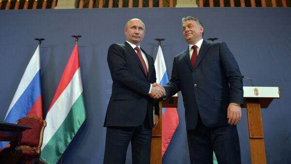 Президент России Владимир Путин и премьер-министр Венгерской Республики Виктор Орбан во время совместной пресс-конференции в Будапеште. Архивное фото.