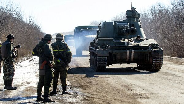 Вывод войск украинской армии из Дебальцево. Донецкая область. Архивное фото