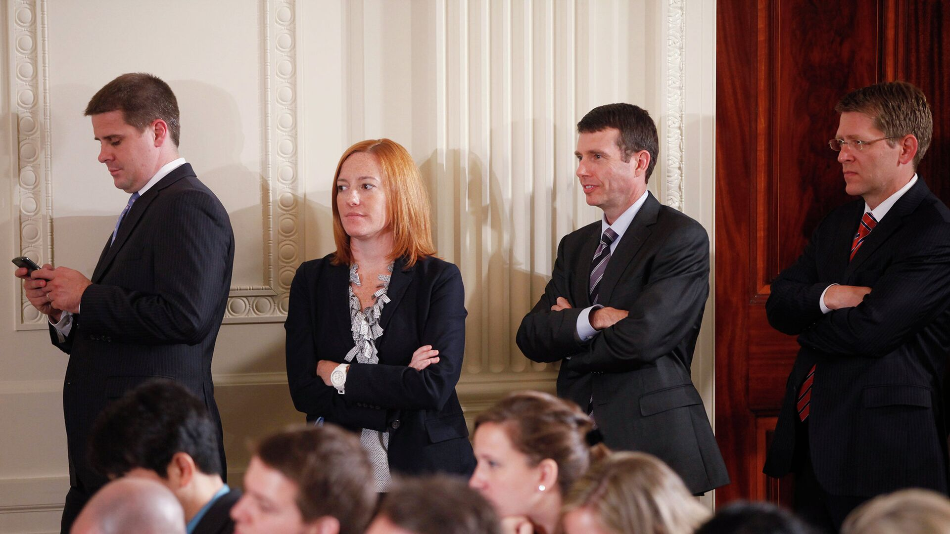 Официальный представитель Государственного департамента США Дженнифер Псаки с коллегами. 2011 год - РИА Новости, 1920, 30.11.2020
