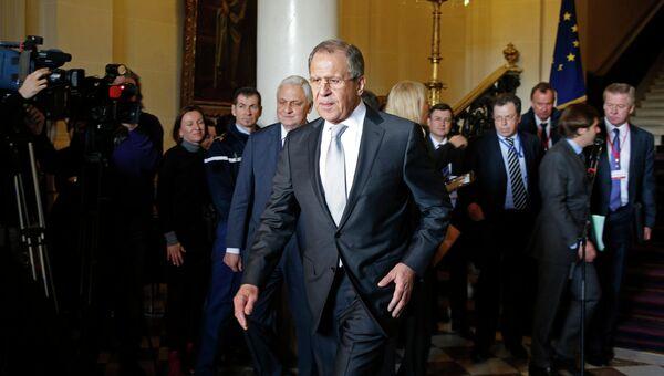 Министр иностранных дел РФ Сергей Лавров на встрече глав МИД нормандской четверки в Париже