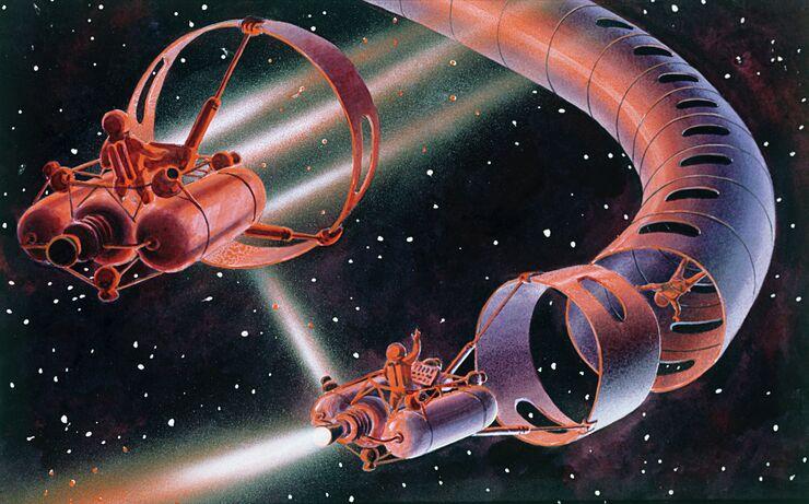 Рисунок Космические шофёры работы лётчика-космонавта Алексея Леонова и художника-фантаста Андрея Соколова. 1968 год