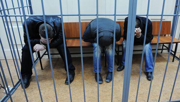 Подозреваемые в убийстве Бориса Немцова в Басманном суде города Москвы. 8 марта 2015