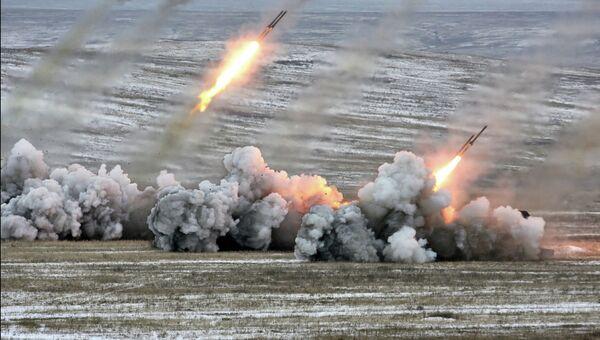 Стрельба из систем залпового огня ТОС-1А