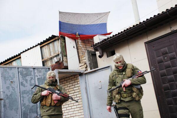 Ополченцы Донецкой народной республики в Донецке
