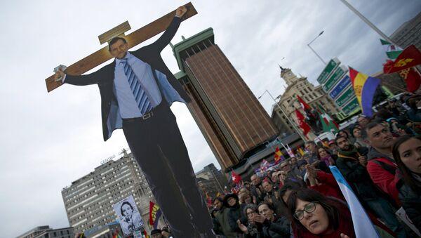 Портрет Мариано Рахоя на Марше достоинства в Мадриде