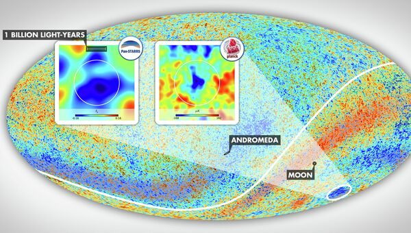 Карта реликтового излучения Вселенной. Загадочное холодное пятно - на врезах и снизу-справа