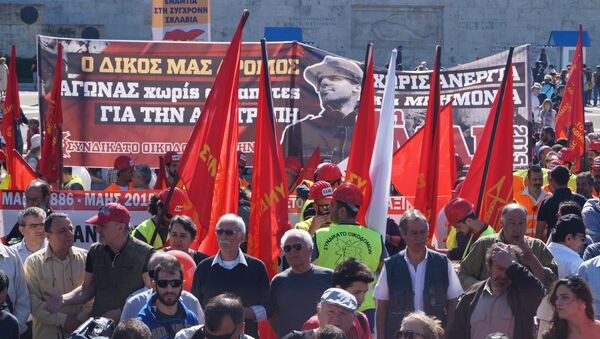 Первомайская демонстрация в Афинах