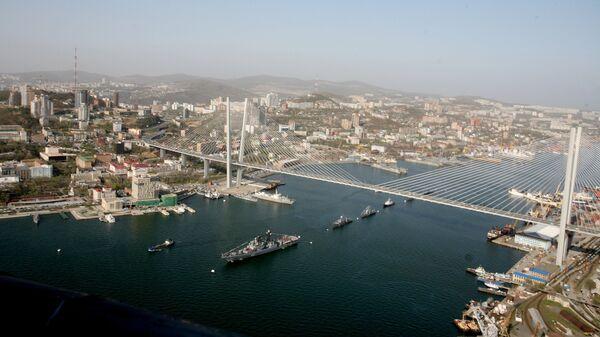 Корабли Тихоокеанского флота заняли свои места в парадном строю в бухте Золотой Рог во Владивостоке