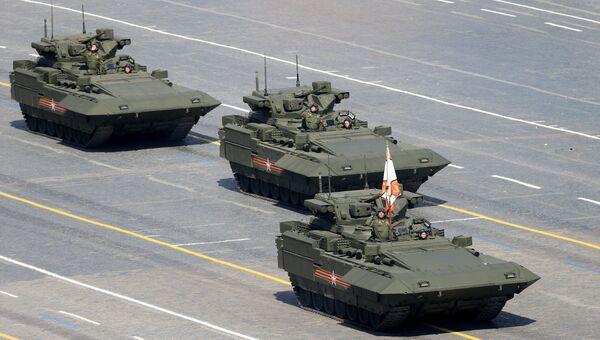 Боевая машина пехоты (БМП) на гусеничной платформе Армата во время военного парада в ознаменование 70-летия Победы в Великой Отечественной войне. Архивное фото