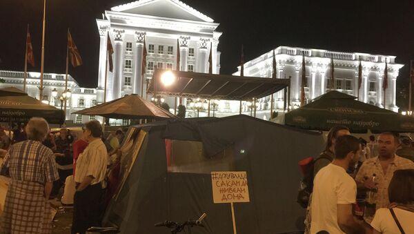 Бессрочный митинг оппозиции Македонии у Дома правительства в Скопье