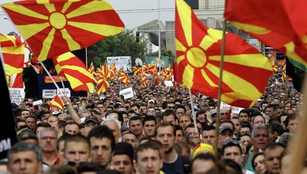 Митинг оппозиции в Скопье, Македония. Архивное фото