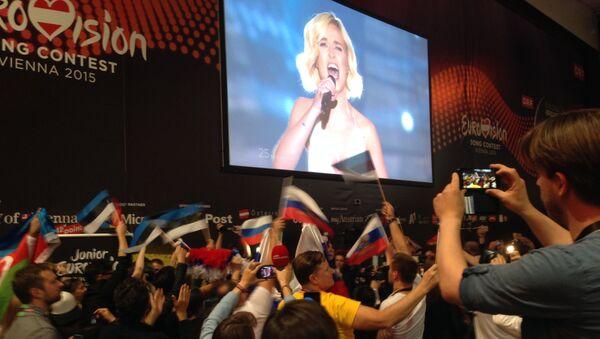 В пресс-центре конкурса Евровидение во воемя выступления Полины Гагариной