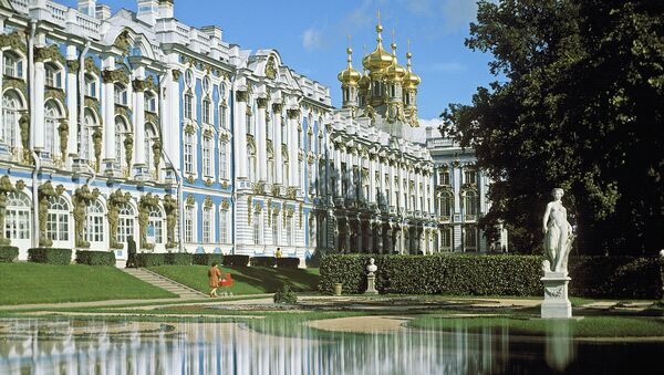 Фасад Екатерининского дворца в городе Пушкин