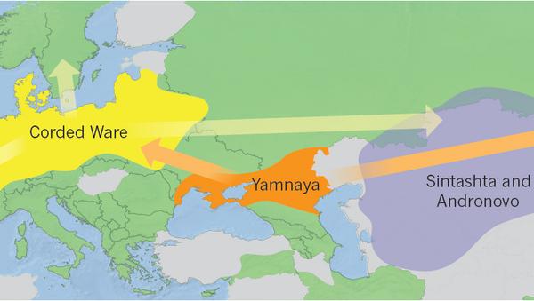 Карта миграций древних индоевропейцев, составленная Виллерслевом и его коллегами