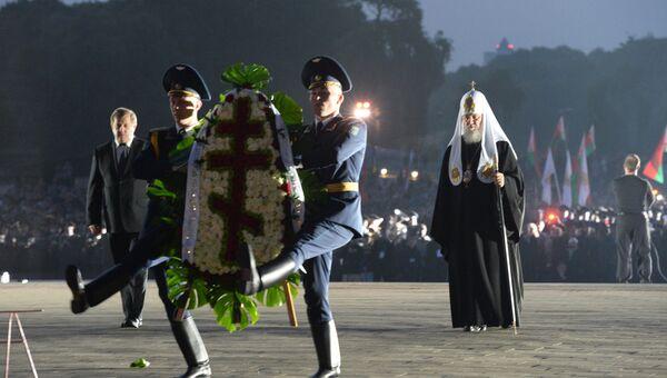 Патриарх Московский и всея Руси Кирилл на траурном митинге на территории мемориального комплекса Брестская крепость - герой