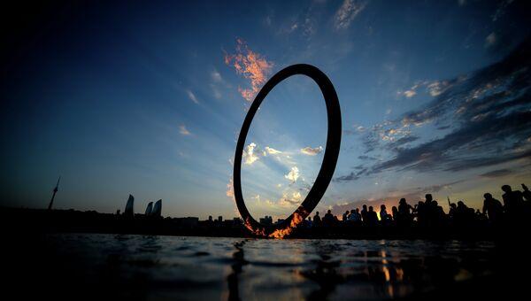 Огонь I Европейских игр на набережной в Баку. Архивное фото