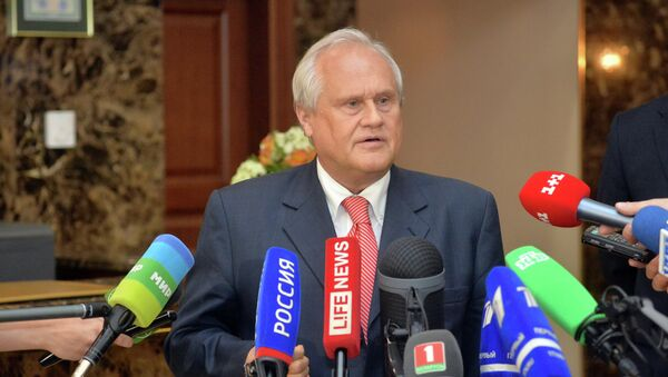 Спецпредставитель ОБСЕ по Украине Мартин Сайдик отвечает на вопросы журналистов по итогам заседания трехсторонней контактной группы по Украине в Минске