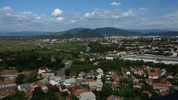 Вид города Мукачево, Украина. Архивное фото