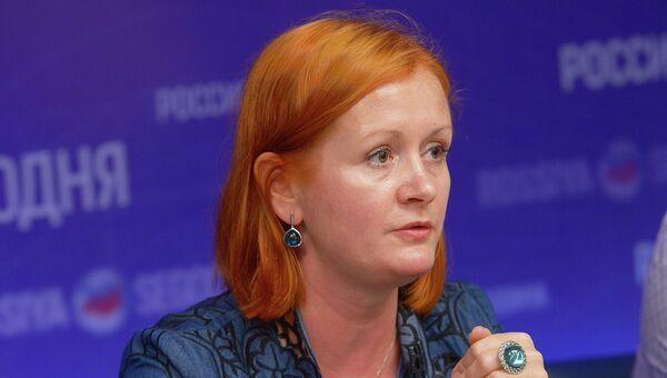 Директор департамента государственной политики в сфере общего образования Минобрнауки РФ Анастасия Зырянова на пресс-конференции в МИА Россия сегодня. 29 июля 2015