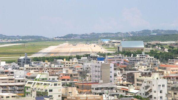 Вид на аэродром военной базы США на Окинаве. Архивное фото