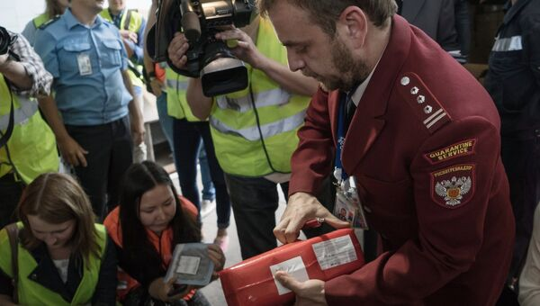 Сотрудник Роспотребнадзора (справа) демонстрирует санкционные продукты, подлежащие уничтожению в инсинераторе на территории аэропорта Пулково. Архивное фото
