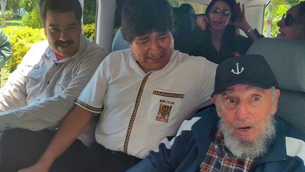 Президент Венесуэлы Николас Мадуро, президент Боливии Эво Моралес и Фидель Кастро в Гаване. Архивное фото