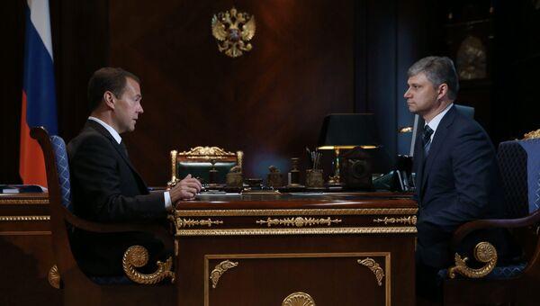 Встреча премьер-министра РФ Д.Медведева и нового главы РЖД О.Белозерова