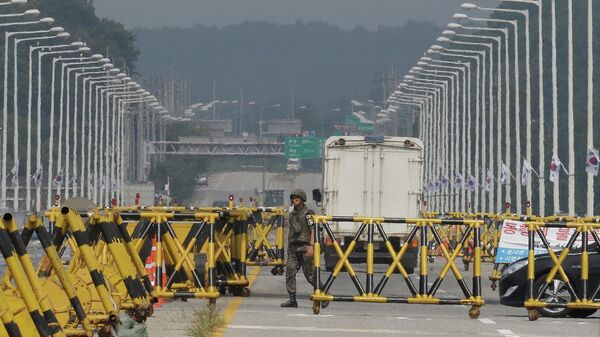 Южнокорейский КПП на границе с Северной Кореей