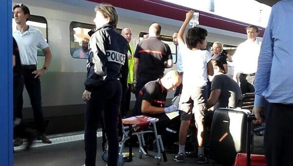 На месте теракта в поезде Амстердам-Париж. Архивное фото