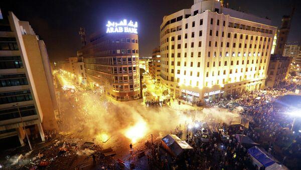 Столкновения полиции и протестующих в центре Бейрута. 23 августа 2015