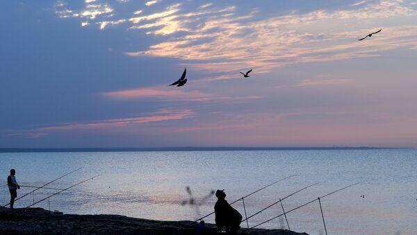 Рыбаки на закате на берегу Черного моря в районе поселка Береговое под Феодосией. Архивное фото