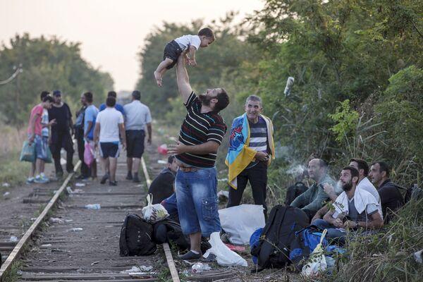 Мигранты на пути из Сербии в Венгрию. 31 августа 2015