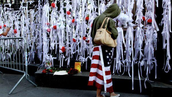 Памятные ленты возле часовни Святого Павла в Нью-Йорке