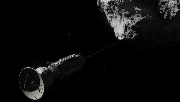 Так художник представил себе зонд, путешествующий автостопом по  Солнечной системе