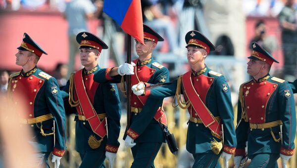 Российские военнослужащие 154-го отдельного комендантского Преображенского полка на военном параде по случаю 70-летия победы китайского народа в войне сопротивления с Японией и 70-летия окончания Второй мировой войны