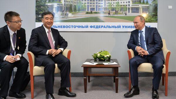 Президент России Владимир Путин (справа) во время встречи с вице-премьером Госсовета КНР Ван Яном (второй слева)