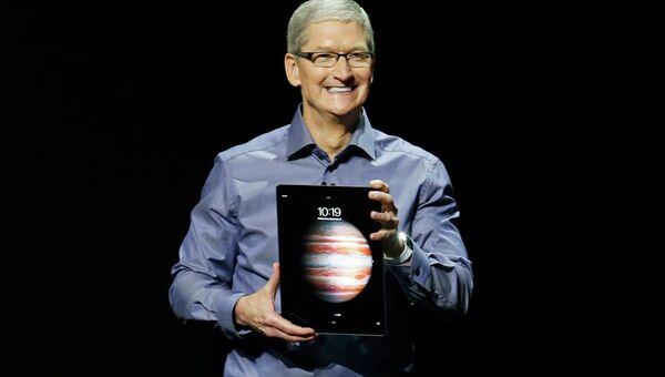 Генеральный директор Apple Тим Кук во время презентации в Сан-Франциско