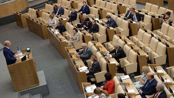 Министр финансов РФ Антон Силуанов выступает во время правительственного часа на заседании Государственной Думы РФ