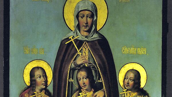 Вера, Надежда, Любовь и их мать София (икона Карпа Золотарёва, 1685 год)