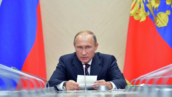 Президент России Владимир Путин во время совещания в резиденции Ново-Огарево по вопросу развития рынка микроэлектроники. Архивное фото