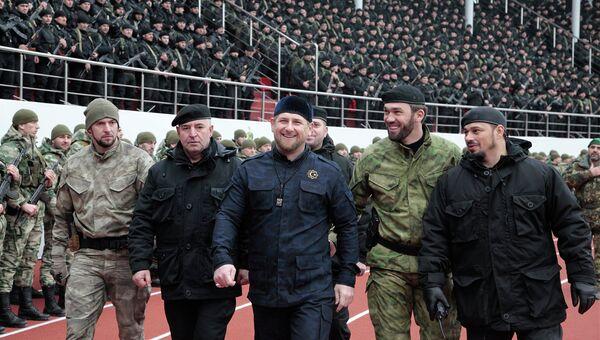 Глава Чеченской Республики Рамзан Кадыров вовремя проверки боеготовности подразделений специального назначения в Грозном, Чечня. Архивное фото