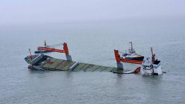 Затонувший голландский сухогруз Flinterstar в Северном море у бельгийского побережья