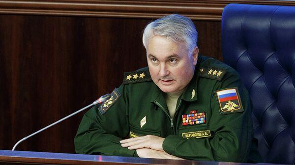 Начальник Главного оперативного управления Генерального штаба Вооруженных сил РФ Андрей Картаполов во время брифинга